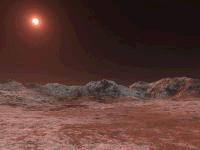 Umjetnička vizija zore na ledenoj planeti sistema Lalande 21185