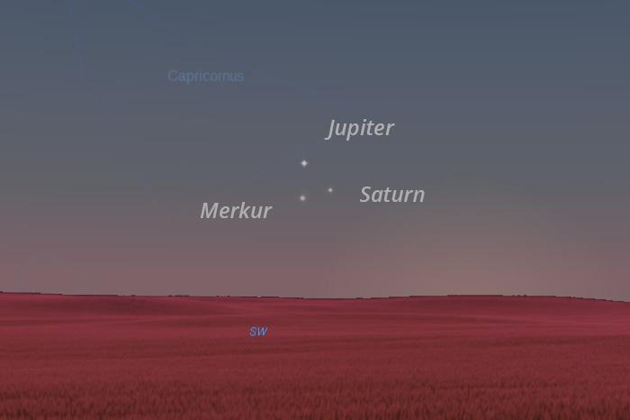Merkur, Jupiter i Saturn 10. siječnja