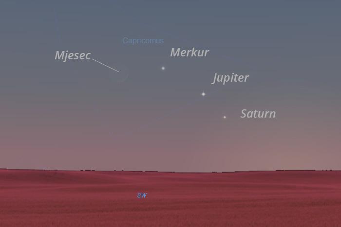 Mjesec, Merkur, Jupiter i Saturn 14. siječnja