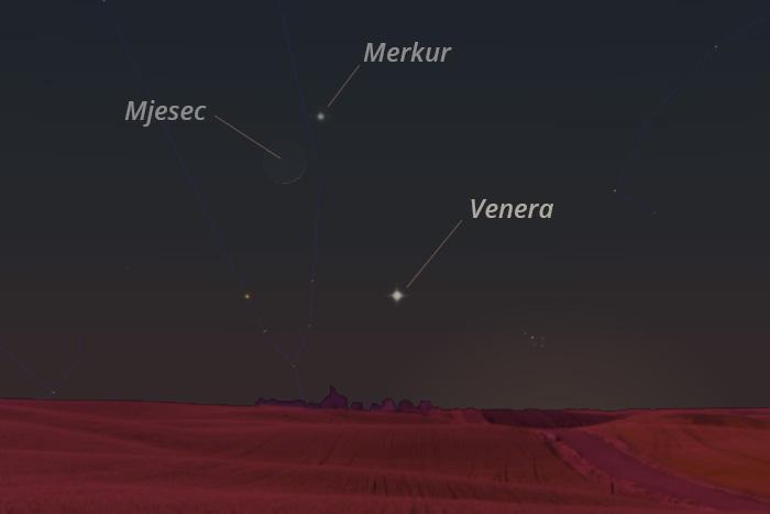 Mjesec, Venera i Merkur 13. svibnja