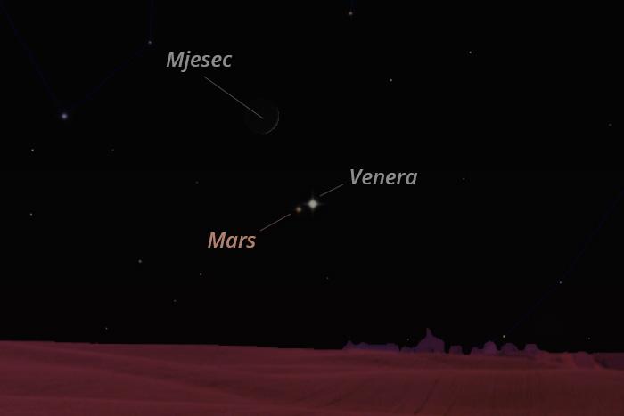 Mjesec, Venera i Mars 12. srpnja