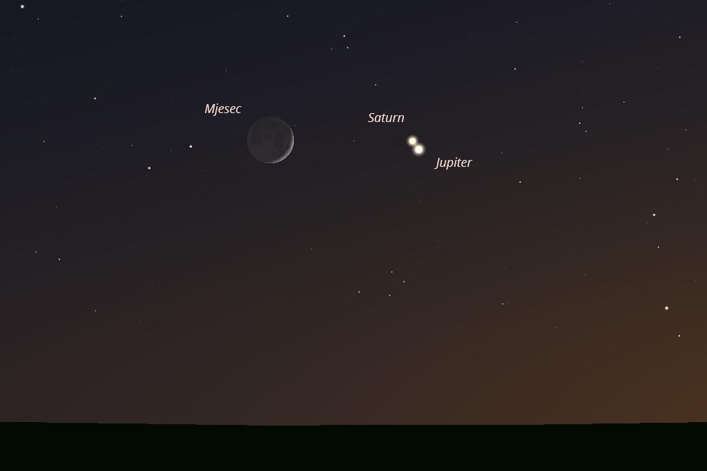 Jupiter, Saturn i Mjesec, 17.12.2020.