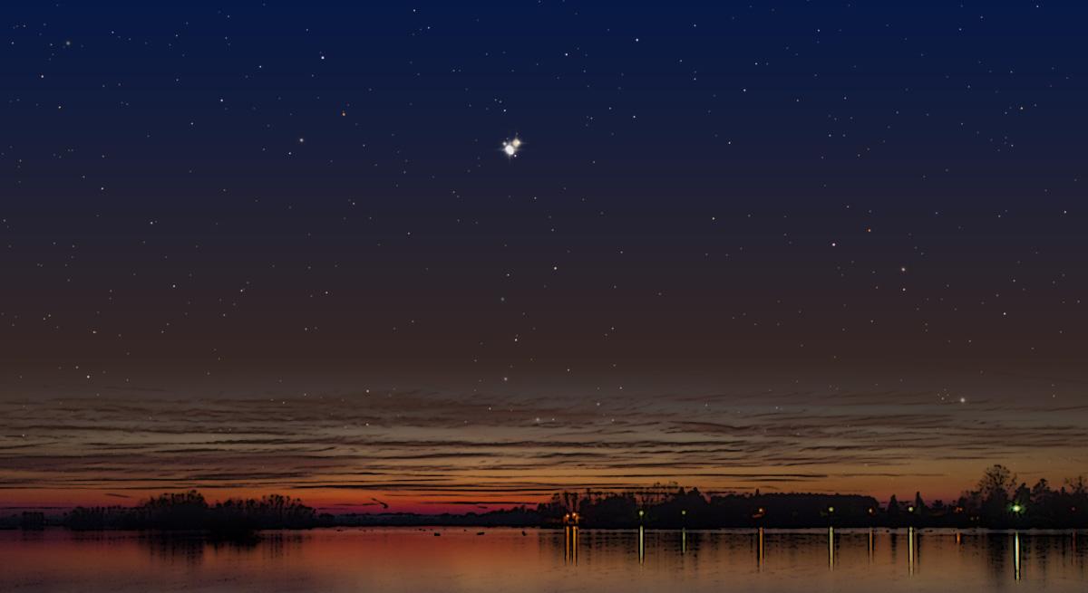 Ilustracija konjunkcije Jupitera i Saturna